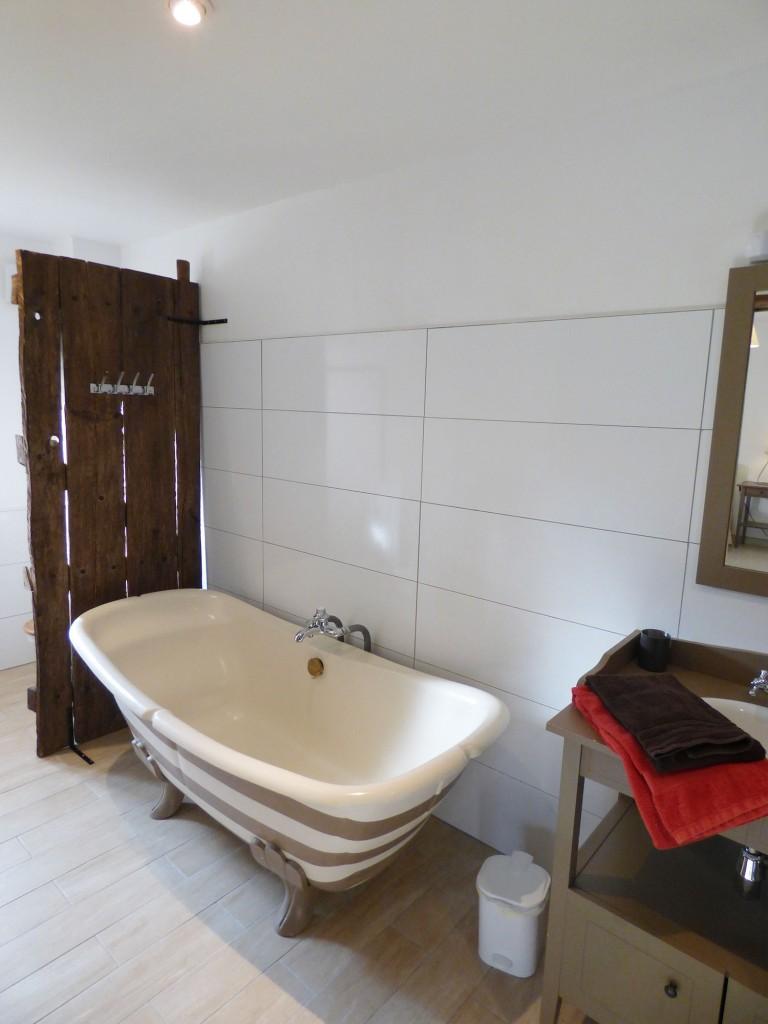 grande salle de bain, baignoire, bois, pierre, haut de plafond, belle vue